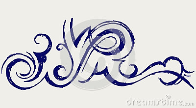 Calligraphic design element. Doodle style