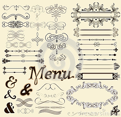 Calligraphic design elements and page decorations in retro style