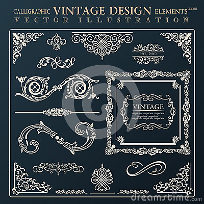 Free Calligraphic Design Elements Vintage Ornament. Vector Frame Decor Royalty Free Stock Image - 44283966