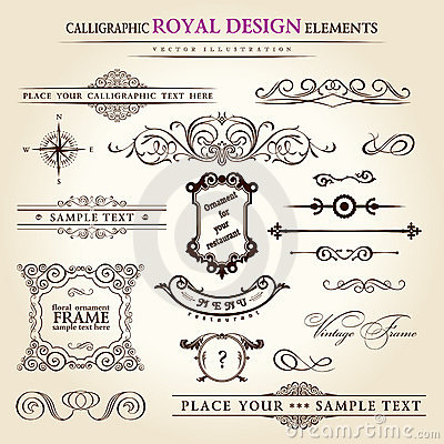 Free Calligraphic Elements Vintage Retro Stock Image - 17756761
