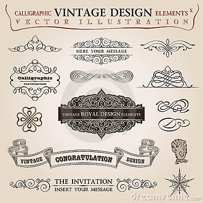 Calligraphic elements vintage ribbon Vector