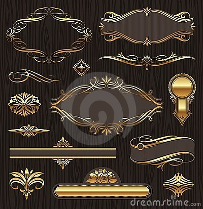 Free Calligraphic Golden Frames & Design Elements Stock Photography - 19961362