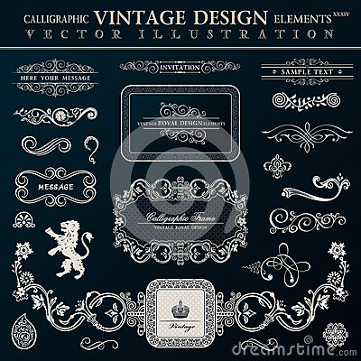Free Calligraphic Heraldic Decor Elements. Vector Vintage Frameworks Stock Image - 44283891