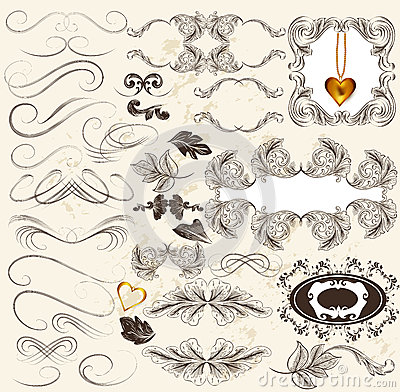 Calligraphic set of retro design elements and page decorations