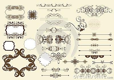 Calligraphic vector design elements