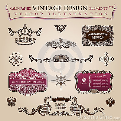Calligraphic vintage elements Congratulation