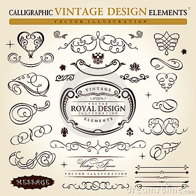 Free Calligraphic Vintage Ornament Vector Frame Royalty Free Stock Photos - 17897718