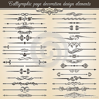 Calligraphic vintage page decoration design elements. Vector Card Invitation Text Decoration Vector Illustration