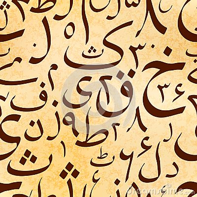 Free Calligraphy Urdu Alphabet Letters On Old Ancient Scroll, Seamless Pattern Stock Photos - 101949943
