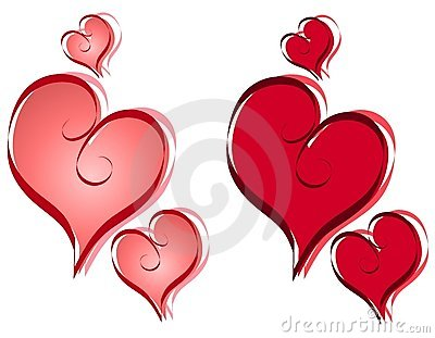 Calligraphy Valentine Hearts Clip Art