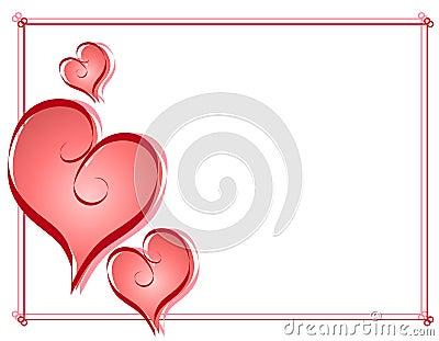 Calligraphy Valentine Hearts Frame Border