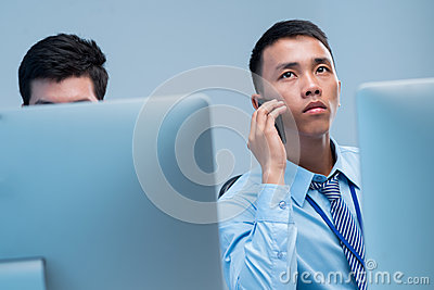 Calling businessman