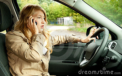 Calling girl driving her new car