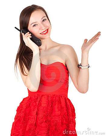 Calling lady in red dress