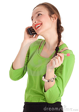 Calling young woman with lollipop