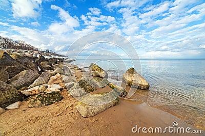 Calm Baltic sea scenery at winter.