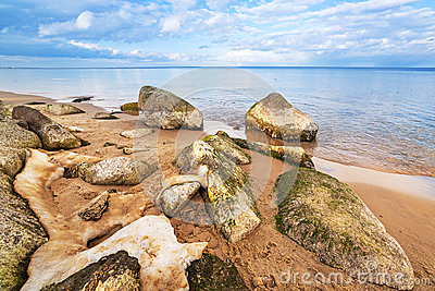 Calm Baltic sea scenery at winter time