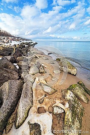 Calm Baltic sea scenery at winter time