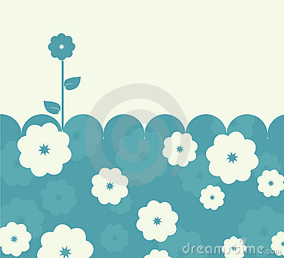 Calm blue retro card with flowers