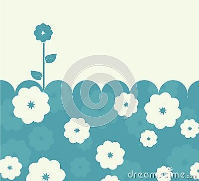 Calm blue retro card with flowers