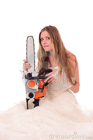 Calm bride with saw