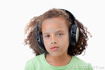 Calm girl listening to music