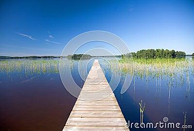 Calm lake blue sky