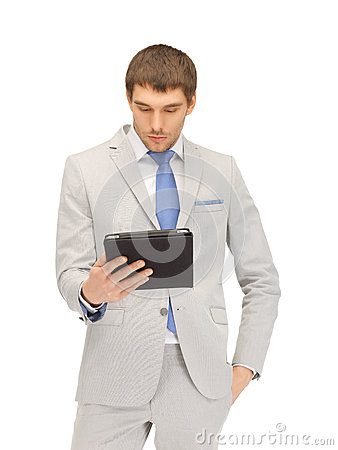 Calm man with tablet pc computer