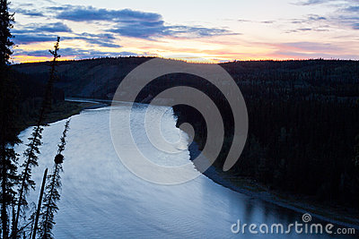 Calm midsummer night over Yukon River landscape
