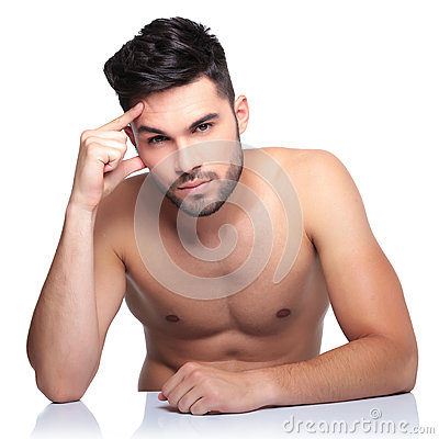 Free Calm Naked Pensive Man Looking At The Camera Royalty Free Stock Image - 35446306
