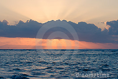 Calm ocean on tropical sunrise