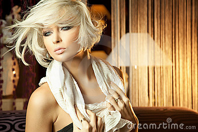 Calm portrait of amazing blond woman
