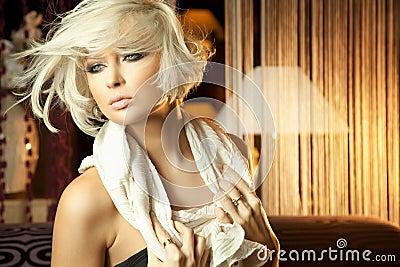 Calm portrait of amazing blond woman