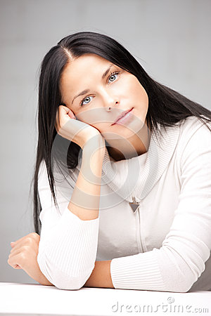 Calm and serious woman Stock Photo