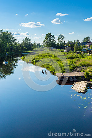 Calm summer river in countryiside