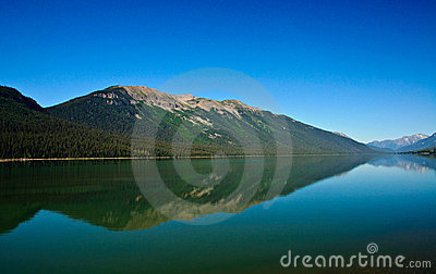 Calm tranquil lake showing reflection