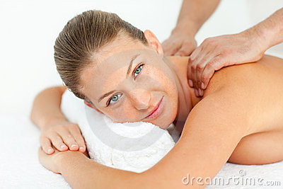 Calm woman enjoying a massage