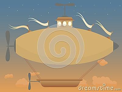 Calma retro da cesta do crepúsculo do dirigível da fantasia do Sepia