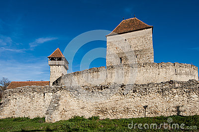 Calnic中世纪堡垒在Transylvania罗马尼亚