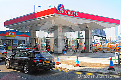 Caltex gas station in hong kong Editorial Image