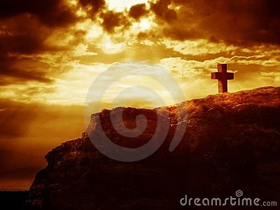 Calvary cross on a rock