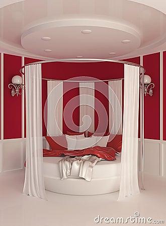 Cama Redonda Com A Cortina No Interior Moderno Imagens De