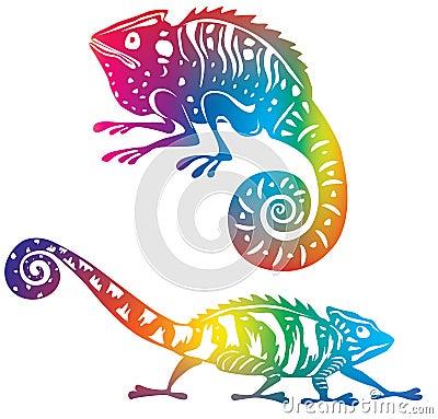 Camaleón coloreado