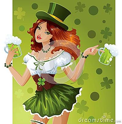 Camarera del día del St. Patrick