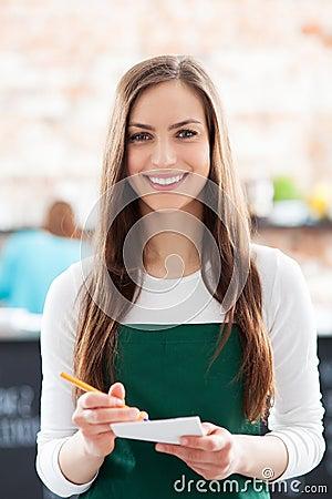 Retrato de la camarera en café