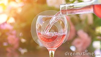 Camarero que vierte un vidrio de vino rosado frío, fondo verde del jardín metrajes