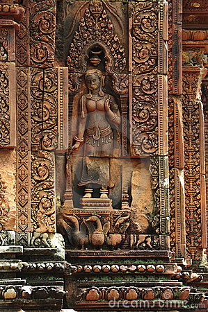 Free Cambodia Angkor Banteay Srey Carved Apsara Royalty Free Stock Photo - 5373445