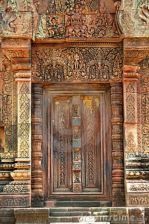 Cambodia Angkor Banteay Srey false carved door