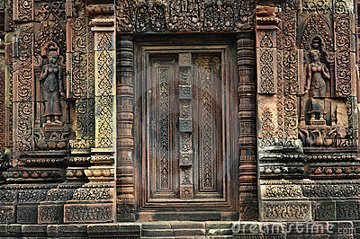 Cambodia Angkor Banteay Srey temple a false door
