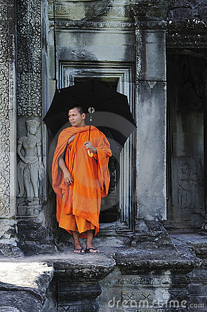 Free Cambodia Angkor Wat Gallery With A Monk Stock Photo - 5195140